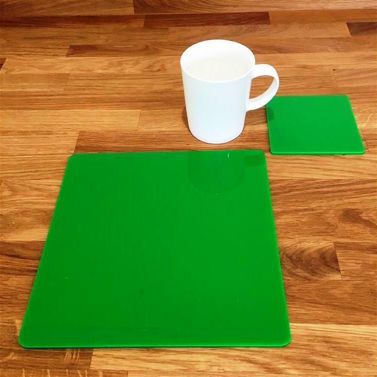 Square Shaped Bright Grün Gloss Acrylic Placemats & Coasters 4 6 8 Größe 9  12