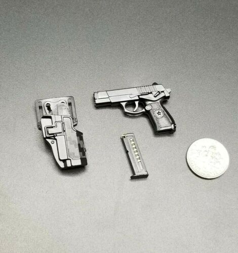 "1:6 Black QSZ 92 Pistol w// Belt Holster 12/"" GI Joe Dragon Dam Hot Toys PMC SWAT"