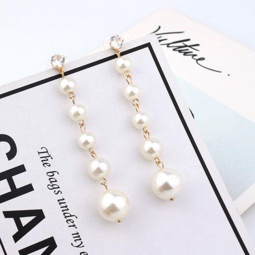 New Tassel Big Simulated Pearl Long Earrings Statement Crystal Dangle Earrings