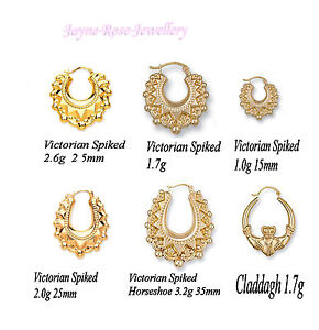 Image Is Loading Pair Of 9ct Gold Creole Hoop Earrings Highly