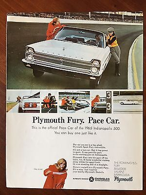 Original Vintage Advertisement 1965 Plymouth Fury