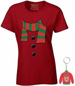 Snowman-Scarf-Ladies-T-shirt-Ugly-Christmas-Shirt-Xmas-Gift