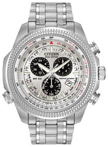 Citizen-Eco-Drive-Men-039-s-Chronograph-Alarm-Silver-Tone-48mm-Watch-BL5400-52A