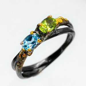 80s-Fashion-Women-Natural-Gem-Peridot-amp-Topaz-925-Sterling-Silver-Ring-RVS76