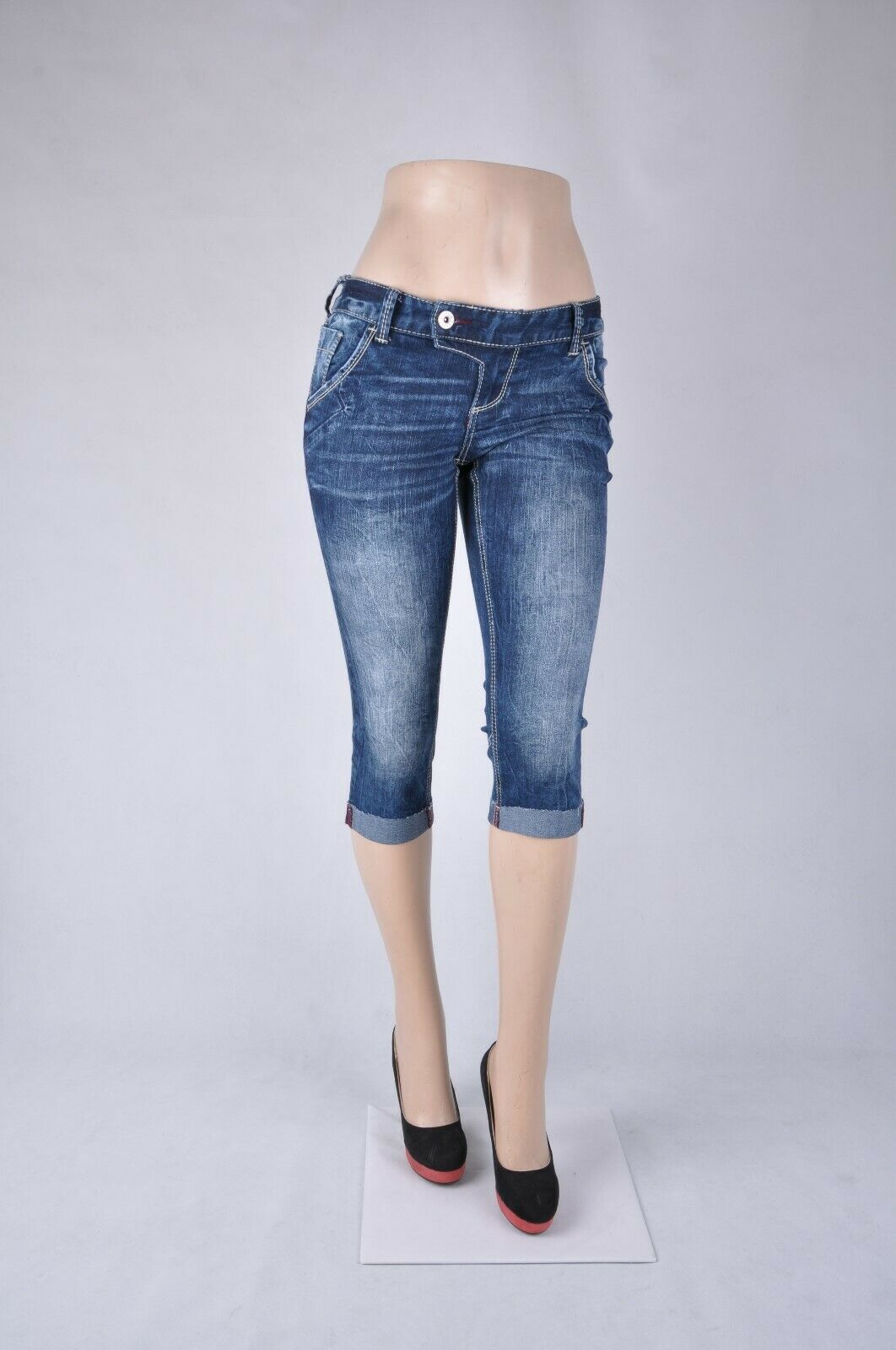 Size 3-15 NWT Junior Stretch Denim Croped Capri Jeans Roll up bottom SG-25779