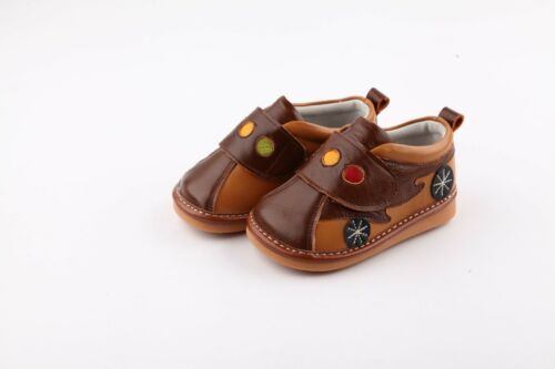 Boys Squeaky Ankle Boots Shoes Real Leather Infant Toddler Brown /& Tan Car