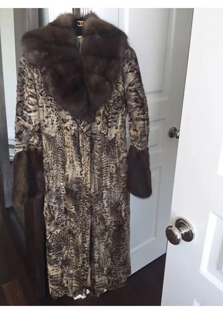 Fashion Fur Coat, Russian Sable w. Swakara    Fur,IT40, US2,  sable  russiansable fa0084