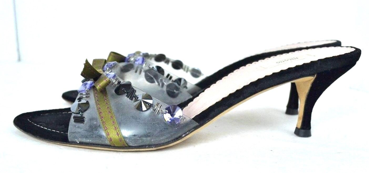 PRADA  BLACK VELVET Damenschuhe / Schuhes SANDALS SIZE 38 / Damenschuhe 7.5  EXCELLENT c116eb