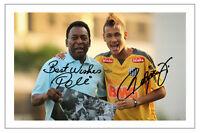 NEYMAR JR & PELE BRAZIL SIGNED AUTOGRAPH PHOTO PRINT  SOCCER