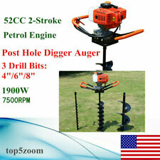 2 Stroke Gas Powered Auger Post Hole Digger Auger Borer Fence Drill468bits