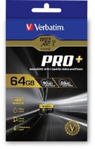 Pratique Verbatim 44034 Pro + Micro Sdxc U3 64 Go Carte Sd 90/80 Mo/s-en Stock Au Royaume-uni-afficher Le Titre D'origine