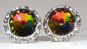 Vitrail Medium Crystal Boucles D'oreilles Clip Ou Percé à L'aide De Véritables Cristaux Swarovski-afficher Le Titre D'origine