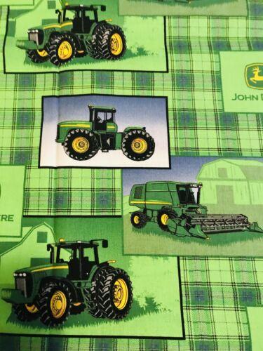 John Deere fq fabric Farm Yard Tractor combine harvester green plaid//check