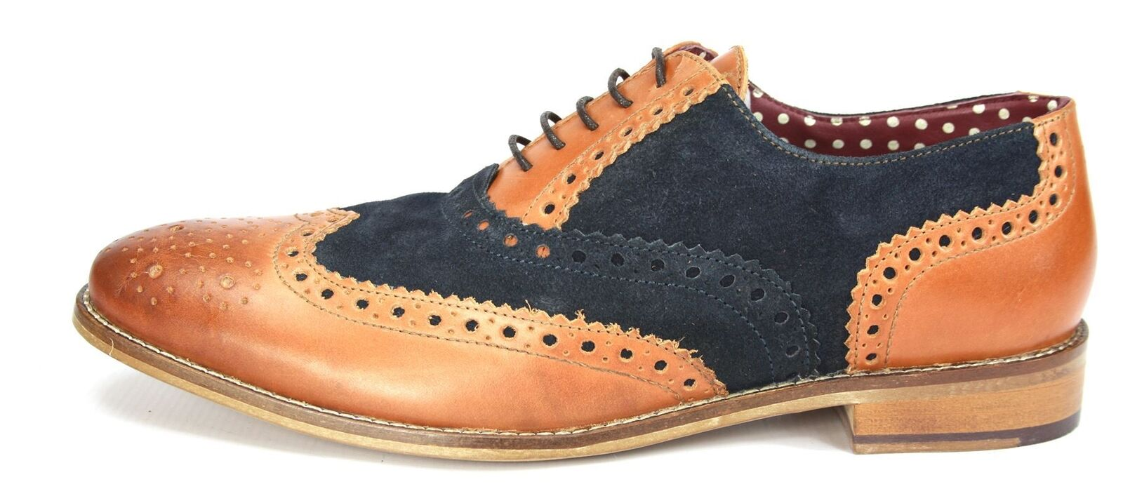 London Brogues Gatsby Tan /  Navy Lace Up Brogues  / Uomo Leder Round Toe Schuhes 7fdf3c