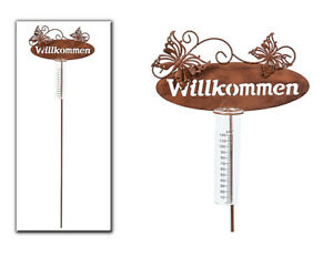 Gartenstecker-Regenmesser-Willkommen-mit-zwei-Schmetterlinge-aus-Metall