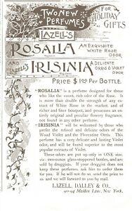 1899 Rosalia & Irisinia Perfumes New York Victorian Original Print Ad 2P1-12