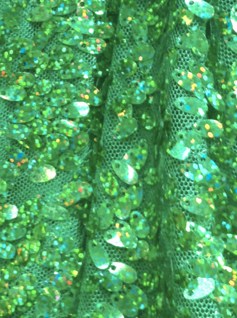 GREEN HOLOGRAM OVAL SEQUINS MESH FABRIC COSTUME DANCE WEAR FORMAL PROM DRESS