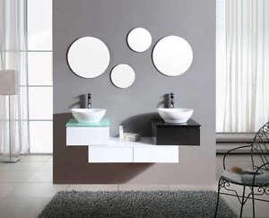 Design Bagno Due : Mobile bagno arredo bagno completo pensile bianco e nero 150cm