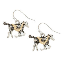 Two Tone Metal Horse Fashionable Earrings - Vine Filigree - Fish Hook