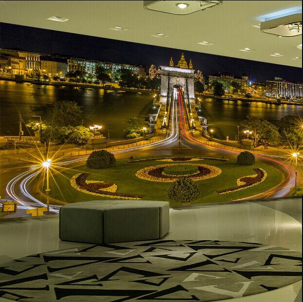 3D vista notturna Parete Murale Foto Carta da parati immagine sfondo muro stampa