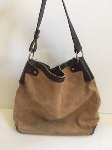 Image Is Loading Francesco Biasia Beige Suede And Brown Leather Handbag