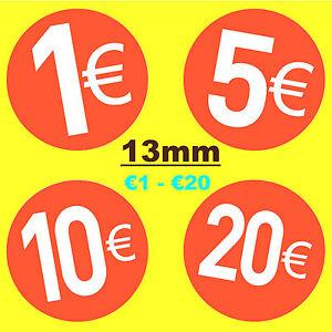 13mm-ROJO-BRILLANTE-EURO-Etiquetas-Precio-Pegatinas-Adhesivas-Columpio