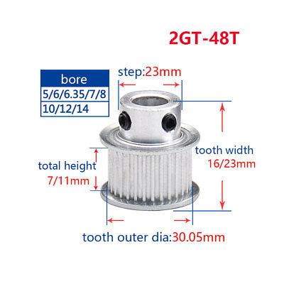 Timing Pulley 6mm Belt 2mm pitch 60T GT2 CNC 3D printer Reprap  6.35mm Bore 2GT