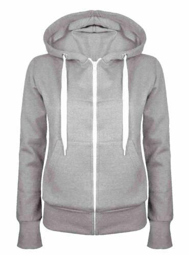 Womens Ladies Warm Fleece Plain Colour Hoodie Zip Up Jacket Jumper Hoody Top8-14