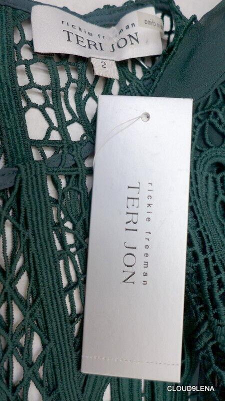 NWT TERI JON JON JON Size 2 cold-shoulder bell-sleeves emerald green lace 2 piece Dress 3133de