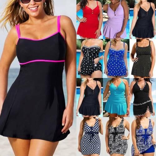 Womens Swimsuit Skirted Swimwear Swimdress Bathing Swimming Costume Plus Size