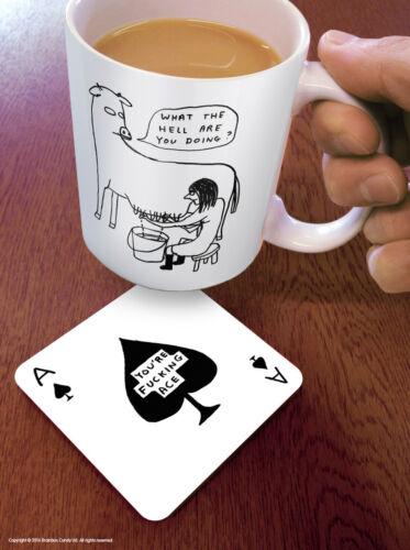 David Shrigley Coaster Verres Mat Funny Rude Comedy Humour Novelty Cheeky joke