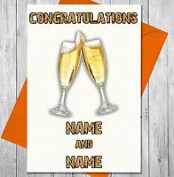 Personalised Champagne Flutes Congratulations Card -  Couple Engagement Wedding