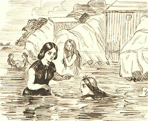 1866 Pen and Ink Drawing - The Swimmers