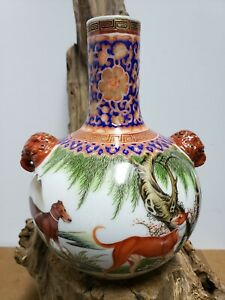 Fine-Chinese-Famille-Rose-Faience-Double-Ear-Porcelain-Vase