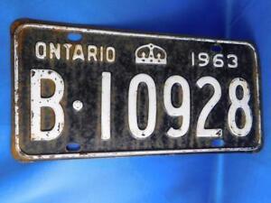 Details About Ontario License Plate 1963 B 10928 Vintage Canada Car Shop Man Cave Garage Sign