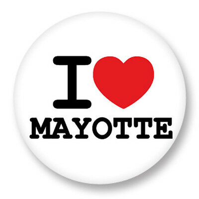 Pin Button Badge Ø38mm ♥ I Love You Mayotte Mahorais Region
