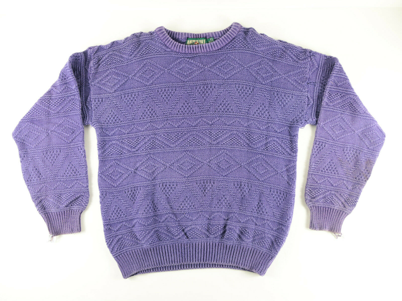 lila KNIT SWEATER BY AMERICAN EAGLE Größe XL MADE IN USA DISTRESSED VINTAGE NR