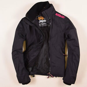 Superdry-senora-chaqueta-Jacket-talla-M-ar-38-the-Windcheater-negro-61493