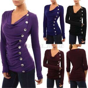 Mode-Femme-Haut-Shirt-Tops-Decontracte-lache-Manche-Longue-Slim-Casual-Plus