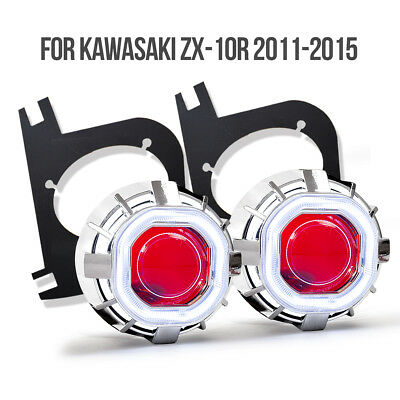 KT for Kawasaki ZX10R 2011 2013 2015 HID Projector LED Angel Eye Lens Headlight