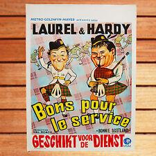 LAUREL ET HARDY AFFICHE BELGE 35 X 55 CM BON POUR LE SERVICE BONNIE SCOTLAND