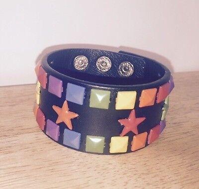 New Rainbow Star Studded Black Bracelet