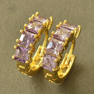 korean jewelry Yellow Gold Filled purple CZ round small Hoop Earrings womens