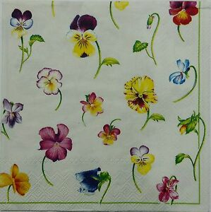 PANSIES MULTICOLOR TWO(2) single LUNCH SIZE paper napkins for decoupage 3-ply