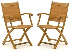2x belardo hartholz rattan garten sessel holz gartenstuhl stuhl klappstuhl set ebay. Black Bedroom Furniture Sets. Home Design Ideas