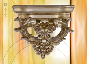Wandkonsole-Ablage-Polystein-Vintage-Asthetik-silber-Deko-Geschenk-Shabby-Style