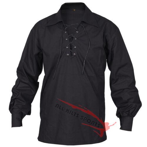 Fast USA Seller Men/'s Scottish Jacobite Ghillie Kilt Shirt Small To 5XL