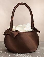 Lillian Rose Brown Satin Wedding Flower Girl Basket
