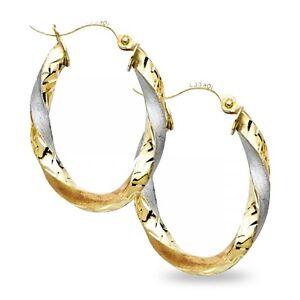 Oval Hoop Earrings Solid 14k Yellow White Rose Gold Diamond Cut Hollow Fancy