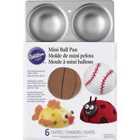 Wilton Mini Ball Cake Pan Baking 6 Molds Jello Soccer Baseball Bowling Tennis on sale